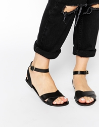 Pieces Black Leather Sara Flat Sandals