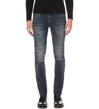 Ralph Lauren Black Label Piston Moto Stretch Denim Jeans Prospector Knit