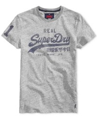 Superdry Men's Vintage Graphic Print Logo T Shirt Snow Pearl Grey