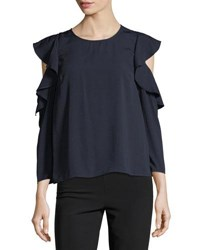 19 Cooper Ruffle Trim Cold Shoulder Blouse Navy