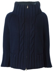 Herno Cable Knit Padded Jacket Blue