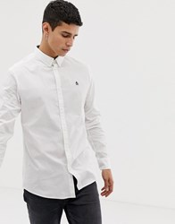 Original Penguin Icon Logo Poplin Stretch Shirt With Button Down Collar In White Bright White
