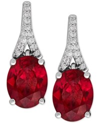 Macy's Lab Created Ruby 4 Ct. T.W. And White Sapphire 1 8 Ct. T.W. Drop Earrings In Sterling Silver