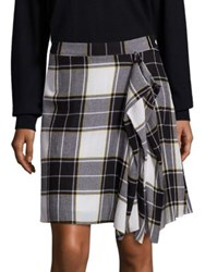 Public School Gina Draped Plaid Skirt Yellow White Grey