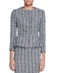 Alexander Mcqueen Lightweight Tweed Peplum Jacket Black White Black Patterned