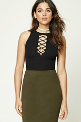 Forever 21 Plunging Lace Up Crop Top