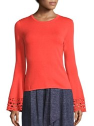 Milly Cutout Flare Sleeve Pullover Navy Coral Orange