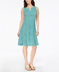 Jm Collection Petite Lace A Line Dress Reef Aqua