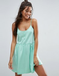 Asos Cami Smock Dress With Button Placket Mint Green