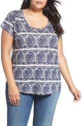 Lucky Brand Plus Size Women's Print Stripe Tee