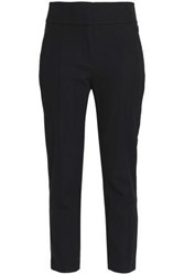 Elie Tahari Alanis Cropped Cotton Blend Twill Tapered Pants Black