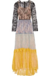 Philosophy Di Lorenzo Serafini Color Block Lace Gown Blue