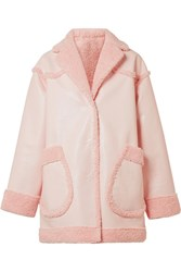 Opening Ceremony Reversible Faux Shearling And Faux Leather Coat Pastel Pink