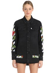 Off White Roses Embroidered Cotton Denim Shirt