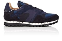 Valentino Men's Studded Nylon And Suede Sneakers Navy