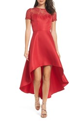 Chi Chi London Lace Yoke High Low Cocktail Dress Red