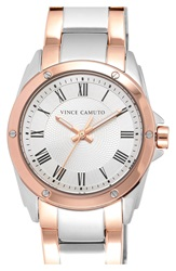 Vince Camuto Guilloche Dial Bracelet Watch 32Mm Silver Rose Gold