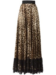 Dolce And Gabbana Leopard Print Pleated Skirt Brown