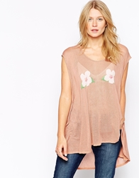 Wildfox Couture Wildfox Floral Print Sleeveless Draped Top Cork