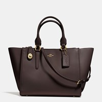 Coach Crosby Carryall In Refined Calf Leather Light Gold Dark Brown