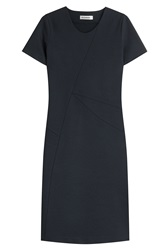 Jil Sander Wool Blend Sheath Dress Blue
