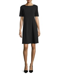 Lafayette 148 New York Seamed Short Sleeve Fit And Flare Dress Plus Size Black