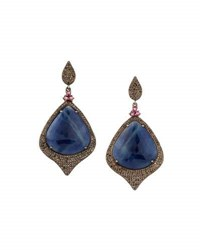 Bavna Sapphire Tourmaline And Diamond Drop Earrings