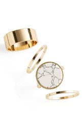 Topshop Women's Set Of 4 Band And Stone Rings Gold