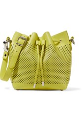 Proenza Schouler Small Neon Perforated Leather Bucket Bag Chartreuse