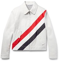 Thom Browne Slim Fit Striped Cotton Twill Jacket White