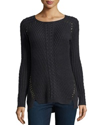 Philosophy Studded High Low Sweater Heather Gr