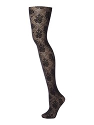 Charnos Floral Opaque Tights Black