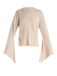 Tibi Slit Side Wool Blend Knit Sweater Nude