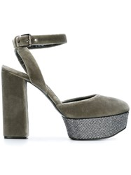 Casadei Velvet Sling Back Sandals Grey