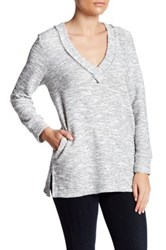 14Th And Union Tweed V Neck Tunic Petite Gray