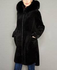 The Fur Vault Fox Trim Hooded Lamb Coat Black