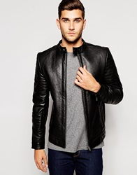 Barney's Barneys Premium Goat Nappa Leather Fleece Lined Jacket Black