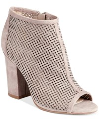 Bar Iii Megan Perforated Peep Toe Block Heel Booties Only At Macy's Women's Shoes Taupe
