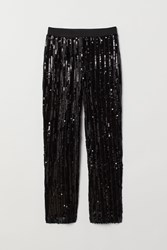 Handm H M Sequined Pull On Pants Black