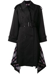 Juun.J Belted Double Breasted Trench Coat Black
