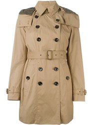 Burberry Double Breasted Trench Coat Brown