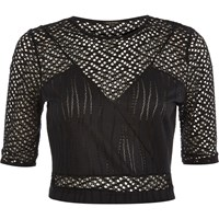 River Island Womens Black Embroidered Mesh Crop Top
