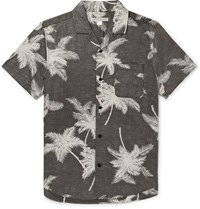 Outerknown Bbq Camp Collar Printed Organic Cotton And Hemp Blend Shirt Gray