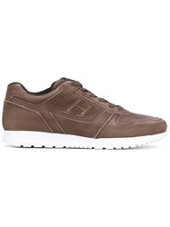 Hogan Lace Up Sneakers Men Leather Polyamide Rubber 8.5 Brown