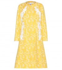 Oscar De La Renta Embellished Cotton Blend Coat Yellow