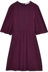 Vanessa Bruno Woman Iver Lace Trimmed Pintucked Silk Mini Dress Plum