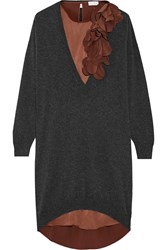 Brunello Cucinelli Cashmere Sweater And Silk Dress Set Brown