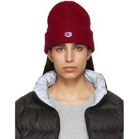 Champion Reverse Weave Red Logo Beanie
