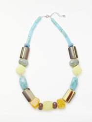 One Button Short Fun Chunky Necklace Multi