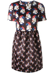 Markus Lupfer All Over Circus Horse Print Dress Black